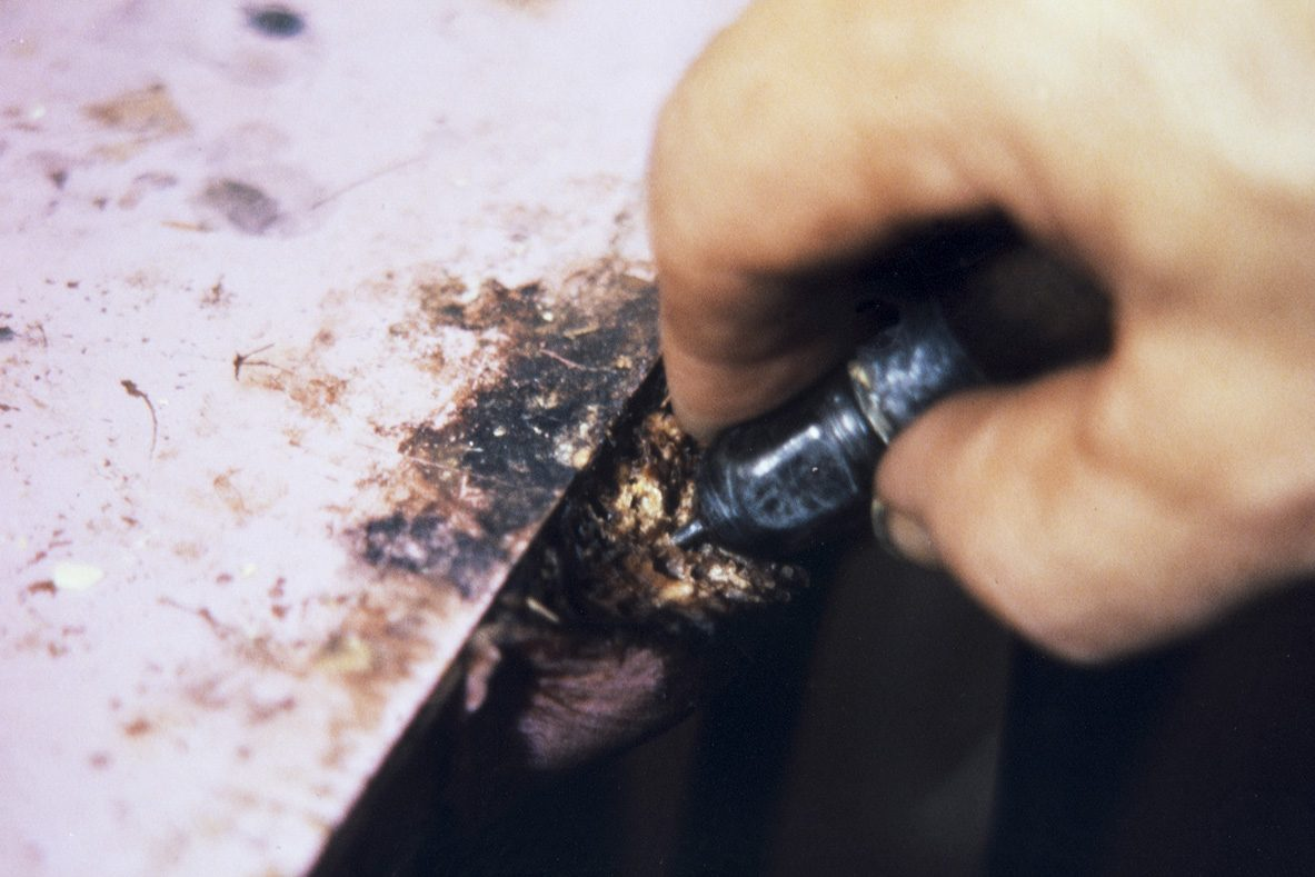 To facilitate perforation, the awl is slipped with soap, 1978. Photo: Juha Miettinen / KUHMU