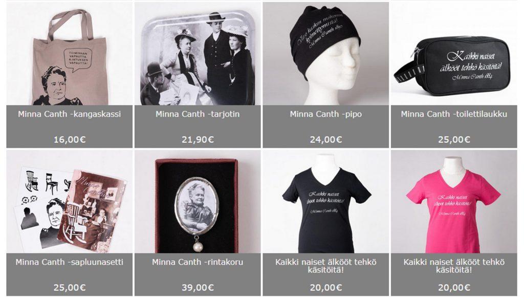 Ruudukossa näkyy erilaisia museokaupan Minna Canth aiheisia tuotteita