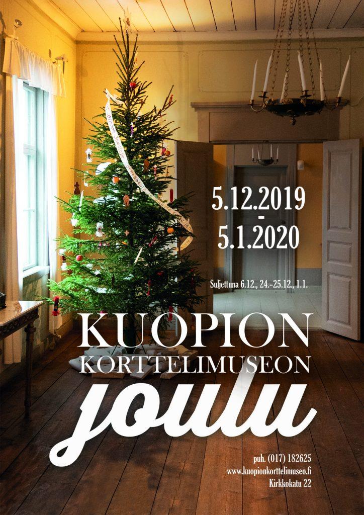 Joulunäyttelyn juliste. Joulunäyttely on avoinna Korttelimuseolla 5.12.2020-5.1.2021